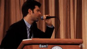 Mic Drop Meme - parks and rec bam mic drop im out peace animated gif popkey
