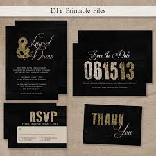 printable modern gold u0026 black glitter wedding invitation set diy