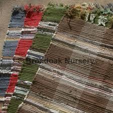 Fabric Rug Fair Trade Indian Rag Rug Chindi Check Cotton Handmade Broadoak