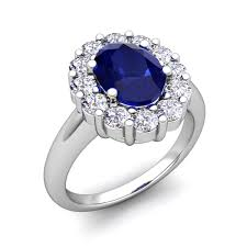 ring diana halo diamond and sapphire diana engagement ring in 14k gold 8x6mm