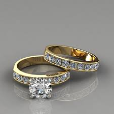 yellow gold bridal sets cut engagement ring and wedding band set puregemsjewels