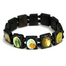 catholic bracelets bead bracelet wood stretch religious catholic icon jesus
