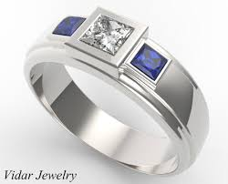 wedding band for three diamond blue sapphire wedding band for mens vidar