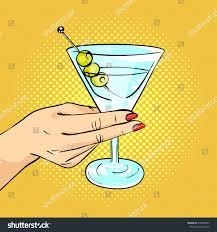 man holding martini vector hand drawn pop art illustration stock vector 410930065