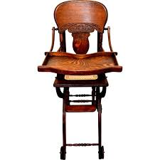 Childs Antique Chair Antique Child U0027s Tiger Oak Pressed Back High Chair Stroller C1900