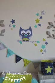 hibou chambre bébé stickers hibou étoiles turquoise anis marine gris décoration