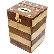 royaltyroute handmade wooden money bank box square treasure chest