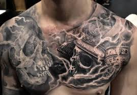 black and grey two skulls on chest