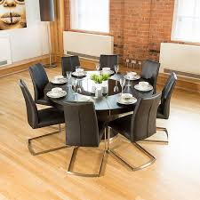 white dining room table seats 8 luxury large round black oak dining table lazy susan 8 chairs