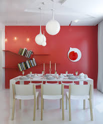 red white dining room modern light fixture interior design ideas