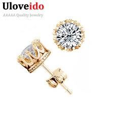 zirconia earrings uloveido crown studs cubic zirconia earrings fashion stud earrings