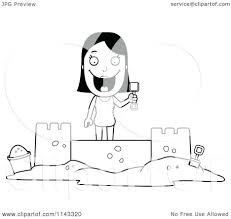 cartoon of black and white summer woman building sand castle