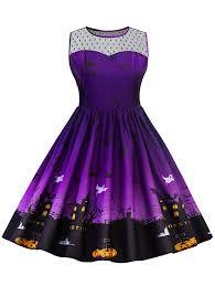 halloween sweaters halloween lace panel plus size dress in purple xl sammydress com