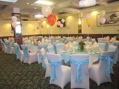 chair covers for baby shower white spandex chair covers and light blue crinkled taffeta sashes