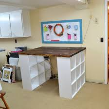 Pottery Barn Bedford Desk Knock Off by Great Way To Make A Craft Table Using 2 Ikea Bookcases Ideas