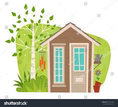 cute garden shed clipart small garden stock vector 536115169