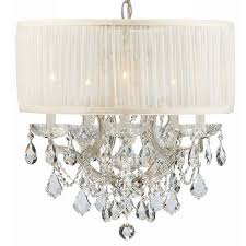 Drum Shade Chandelier Lighting Crystorama Crystorama Brentwood 6 Light Crystal Chrome Drum