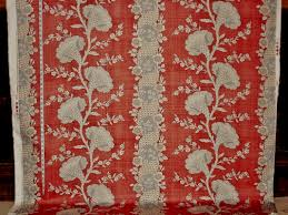 Toile Rugs Red Toile Fabric Colonial Coxcomb Flower Stripe Destash 2 Yds