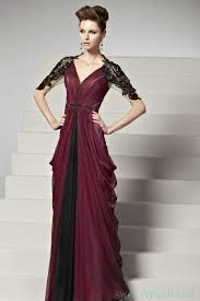 Black Homecoming Dresses With Sleeves Crinkle Chiffon Purple And Black Formal Dress With Middle Sleeves