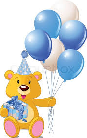 teddy in a balloon gift teddy sitting with blue gift box and balloons stock vector