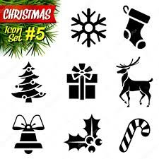 set of black and white christmas icons u2014 stock vector kulyk