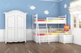 children u0027s bedroom in blue walls with bunk bed and wardrobe stock
