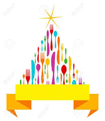 cutlery christmas tree isolated greeting card template fork
