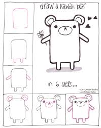 draw a kawaii style bear in 6 steps learn to draw