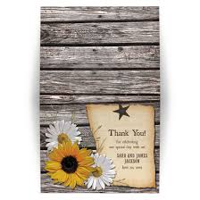 country wedding thank you card rustic sunflower wood