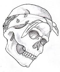 tattoo skull with bandana drawings pictures to pin on pinterest