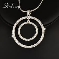 big rhinestone necklace images Sinleery big hollow circle round pendant necklace micro paved jpg