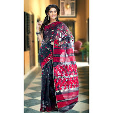 dhakai jamdani black dhakai jamdani saree with border and and jari temple