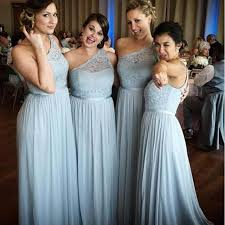 sky blue bridesmaid dresses cheap 2017 one shoulder sheer lace