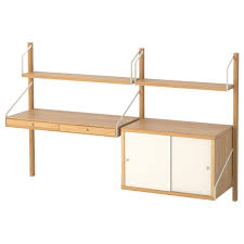 ikea bamboo table top svalnas wall mounted workspace combination bamboo white 150x35x93 cm