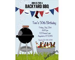 backyard cookout party invitation bbq birthday invitation
