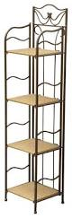 Contemporary Bakers Rack Wicker Resin Steel 4 Tier Indoor Outdoor Bakers Rack