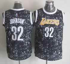 cheap adidas nba los angeles lakers 32 magic johnson black city