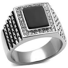 man rings images Boss man men 39 s stainless steel synthetic jet stone ring blue jpg