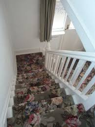 Stairway Landing Decorating Ideas by Beautiful Patterned Carpet Runner For Stairs With Flowers Pattern