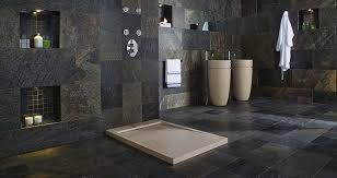 Home Design Products Inc Large Bathroom May Be Covered Floor To Ceiling In Dark Stone Tiles