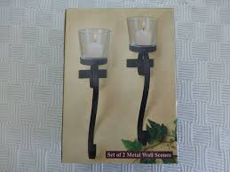 Candle Sconce Set Of 2 Metal Wall Mounted Candle Sconce With Glass Candle Holder