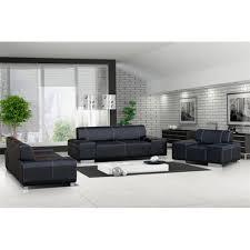 salon avec canapé noir ensemble canapé et fauteuil 3 2 1 flavio noir achat vente