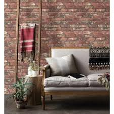 Interior Brick Veneer Home Depot Brewster Loft Red Brick Wallpaper Fd23287 The Home Depot
