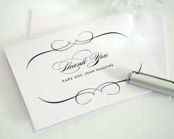 Wedding Invitations And Thank You Cards Elegant Wedding Thank You Cards In Black On White Shimmer