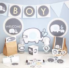 boy elephant baby shower decorations printable blue yellow
