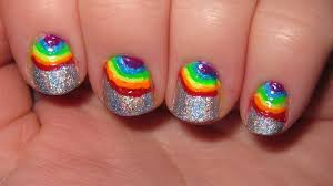 rainbow holographic nails