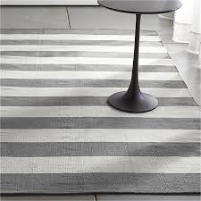 Silver Grey Rug Olin Grey Striped Cotton Dhurrie Rug Crate And Barrel