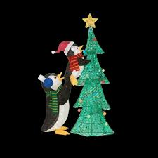 home accents 62 in led lighted tinsel penguins with tree