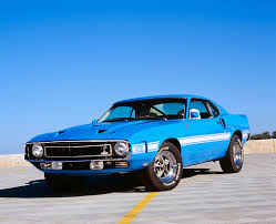 sky blue mustang 1969 ford shelby mustang gt500 fastback blue 3 4 front view on