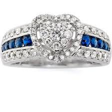 diamond heart ring always forever platinaire 1 2 carat t w diamond with sapphire